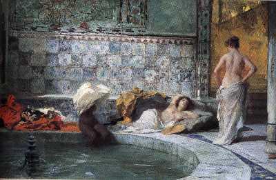 La donna in mantello di raso porpora wake up per andare al bagno